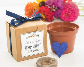 """12 """"Let Love Grow"""" Blue Heart Flower Seed Garden Kit - Unique Navy Wedding or Bridal Shower Favor Personalized Thank You from Bride & Groom"""