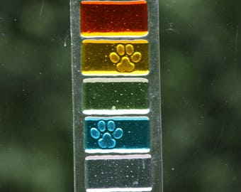 Pet memorial rainbow suncatcher, fused glass pet loss gift, pet remembrance