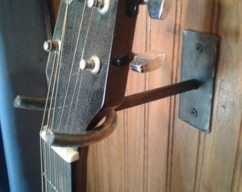 Hand Forged Iron Guitar Hanger Lined With Wear Reducing Clear Plastic Tubing