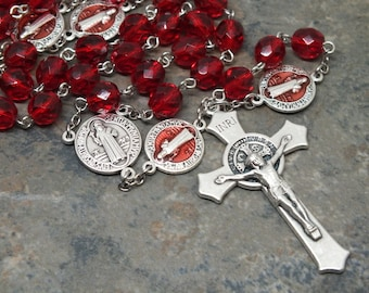 St. Benedict Rosary of Ruby Siam Czech Glass, Saint Rosary, 5 Decade Rosary, July Rosary, Birthstone Rosary, Catholic Rosary, Men's Rosary
