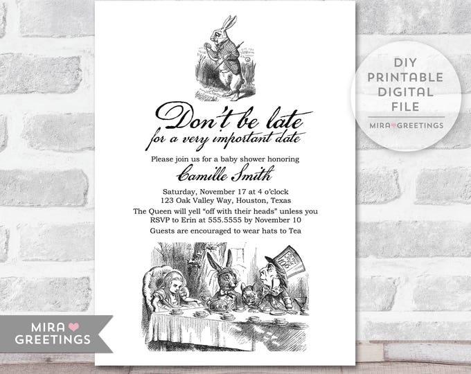 Alice in Wonderland Shower Invitation - Printable Digital File