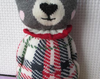 Seriously Cute tartan sock bear.  Teddy Plushie, ce. one of a kind