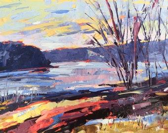"River Painting, Original Oil, landscape Painting, Rubinetti, 8"" x 6"", palette knife, contemporary art, impressionist art, delaware river,"