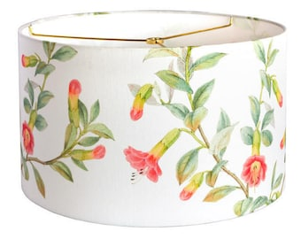 X-LARGE Linen Summer Cottage Lampshade - Yellow Coral Aqua Green Flower - 16 17 18 Inch Drum Lamp Shade - Custom Made to Order Lamp Shade