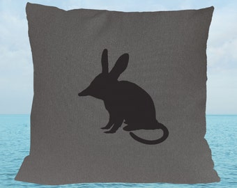 Easter Grey Gray Bilby Hand Printed Cushion Cover