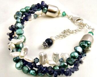 Multistrand Pearl Gemstone Bracelet Teal Aqua Blue Green Handmade