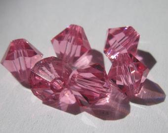 6 genuine swarovski 6 mm - pink (74) Crystal bicones