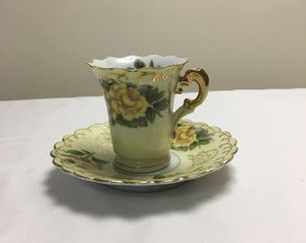 Lefton Yellow Rose Tea & Saucer