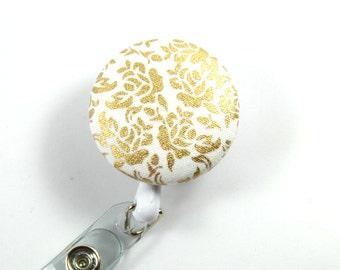GOLDEN ROSES Fabric Badge Reel, Roses badge Reel, Golden button reel, Retractable button badge, Button Reel, Button badge Holder