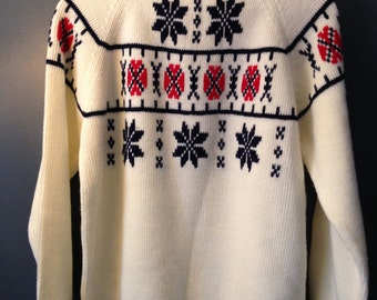 Vintage Pullover Sweater, 70s Winter White Nordic Sweater-Men's size L
