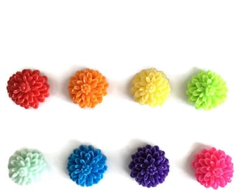Rainbow Floral Magnets + Tin / Flower Magnets / Fridge Magnets / Floral Magnets / Refrigerator Magnets / Decorative Magnets / Resin Flowers