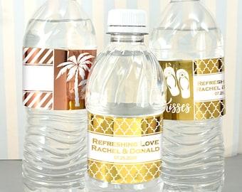 Wedding Favor Water Bottle Labels, Personalized Metallic Foil Water Bottle Labels - Set of 10 labels