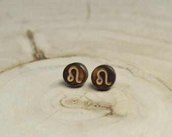 Boucles d'oreilles Clou Bois Récupéré et Argent - Signe Astrologique Lion