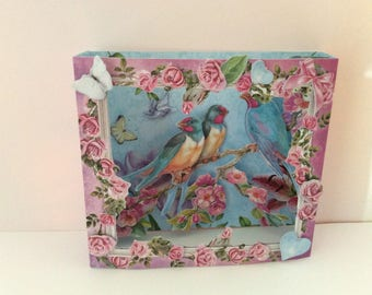 Card diorama 3D - romantic garden theme - birds
