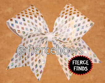 Silver Diamonds Cheer Bow