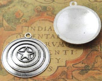 4pcs Captain America Shield Charms Silver Tone Shield Charms 35mm ASD1816