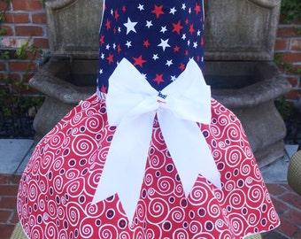 PATRIOTIC:  Stars & Swirls in Navy Dog Dress