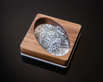 Paper Clip Tray, Wood Paper Clip Holder, Wooden Tray, Walnut Wood and White Acrylic Holder for Office Desk