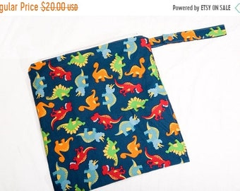 Spring Sale Dinos in Blue - 16x16 Sweet Bobbins Wet Bag - SEAM SEALED - Snap Strap