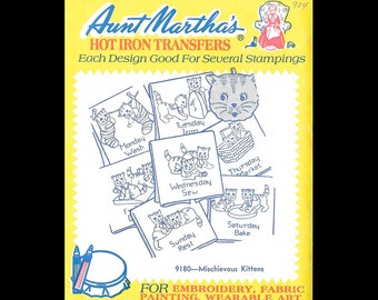 Aunt Martha's Mischievous Kittens - Embroidery Transfers 9180 - UNCUT - Hot Iron Sewing Transfer - DIY Needlecraft Motifs - Days of the Week