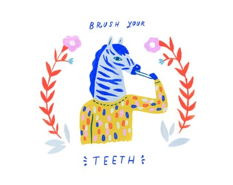 Creatures of Healthy Habits Zebra Brusshing Teeth by Sarah Walsh