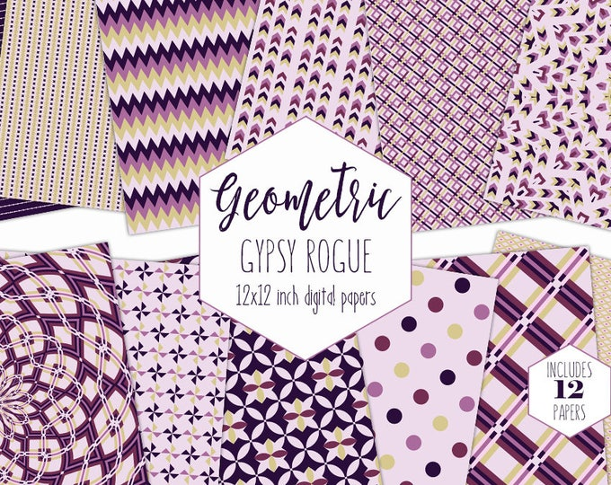 PURPLE GEOMETRIC Digital Paper Pack Mandala Backgrounds Plaid Scrapbook Paper Stripe Arrow Patterns Party Printable Commercial Use Clipart