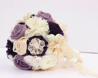 Bridesmaid bouquet, purple bouquet, small bouquet, wedding bouquet, fabric bouquet, lavender bouquet, wedding accessories, wedding flowers