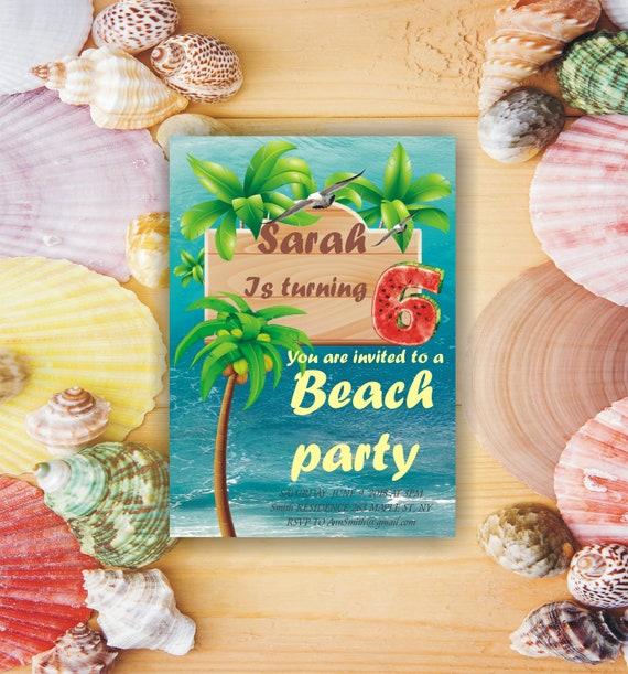 Kinder-Party-Einladungen Einladung Vorlage Strand lädt 7.