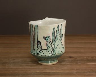 Cactus Whiskey Cup| Succulent Garden Cup| Spring Gift| Inspired by Nature| Tea Cup|