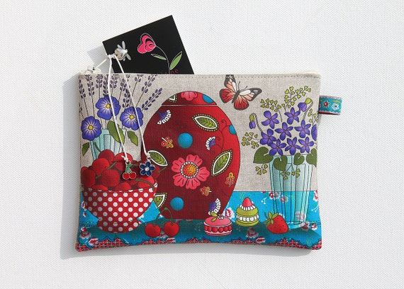 """Illustrated natural linen """"cherry & purple"""" pouch"""