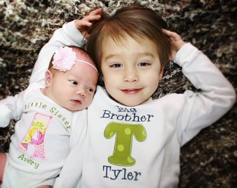 Big Sister Shirt - Big Sis Shirt - Big Brother Shirt - Little Sister/Brother Sibling Set - Initials