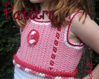 Pattern for Peppermints & Polka Dots, Little Girl's Cute Crochet Tank Top with Peppermint Candy Hair Accessory