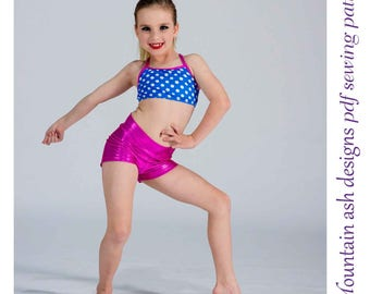 Gymnastics & Dance Shorts 7 Pattern Girls High Waisted Shorts Yoga Shorts