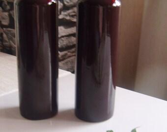 Brown Glazed Ceramic Bottle Vase, Vintage Pottery