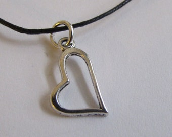 Heart Charm On Wax Cord Love  Heart Jewellery Adjustable Unisex Free UK Shipping + Gift Bag