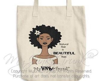 Beautiful- Natural Hair Canvas Tote Bag