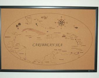 Cork bulletin board, message board,scuba diving map,Caribbean sea.