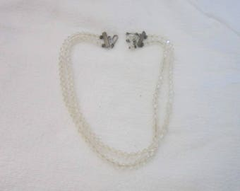 Antique Cut Crystal Petite Bead Double Strand Necklace