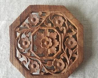 Vintage hand carved wood trivet, Indian rosewood, Sheesham wood, carved trivet, boho decor, octogon trivet