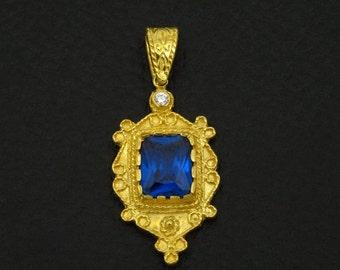 Blue Sapphire Cz Pendant Byzantine Style 925 Sterling Silver 22K Gold Plated Greek Handmade Art Luxury