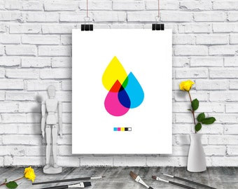 Designer Poster - Graphic Design Poster - CMYK art poster download - Cyan - Magenta - Yellow - Black - Poster - Instant Download Poster