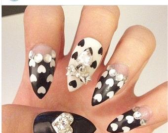Black & White Hearts with bows 3D nails Japanese gel nail art kawaii