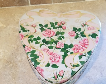 Heart Shaped vintage tin canister pretty pink roses sweethearts gift container.
