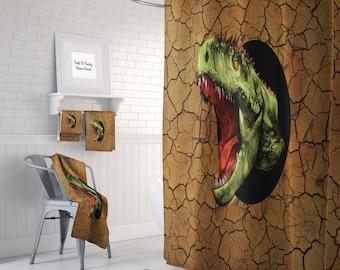 Dinosaur  Shower Curtain , Dinosaur Towels, Dinosaur Bath Mat ,