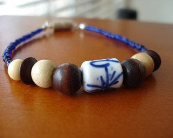 Porcelain Bead Bracelet, Wood Bead Bracelet, Navy Blue Bracelet, Seed Bead Bracelet, Beaded Bracelet, Magnetic Bracelet, Wood Bead Jewelry