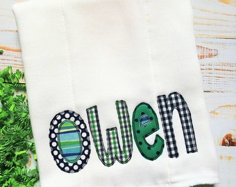 Personalized Burp Cloth Appliqued Name for Baby Boy Navy Green