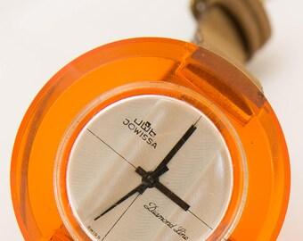 Vintage Jowissa Diamond Line Plexiglass Watch Rare!