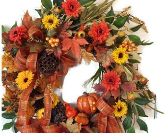 Fall Floral Wreath, Fall Grapevine Wreath, Fall Harvest Wreath, Fall Wreath, Autumn Wreath for Door, Autumn Harvest Wreath, Fall Wreath Mums