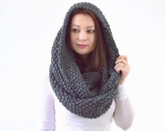 Knitted Chunky Infinity Loop Scarf Hood | The York