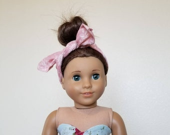 Pink and White Floral Headscarf for 18 inch dolls by The Glam Doll